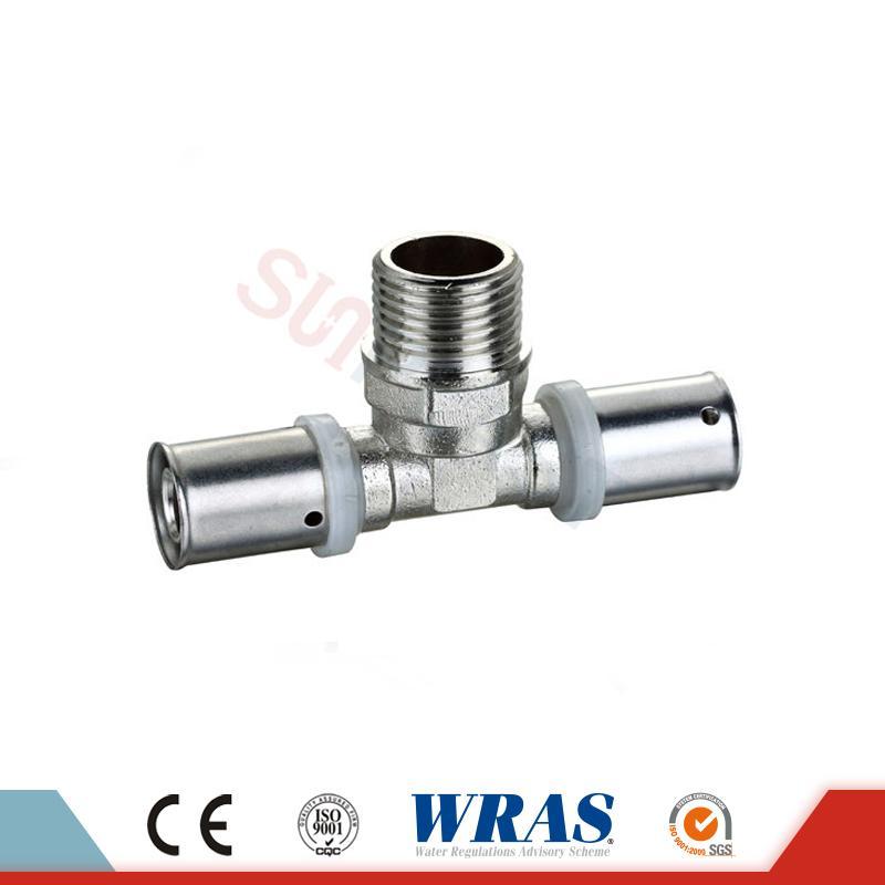 Brass Press Male Tee Kanggo PEX-AL-PEX Multilayer Pipe