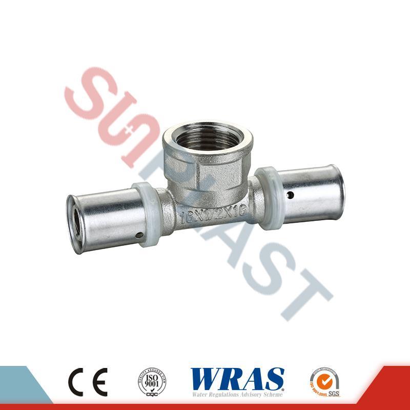 Brass Press Female Tee Kanggo PEX-AL-PEX Multilayer Pipe