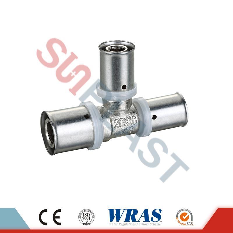 Brass Press Reducing Tee Kanggo PEX-AL-PEX Multilayer Pipe