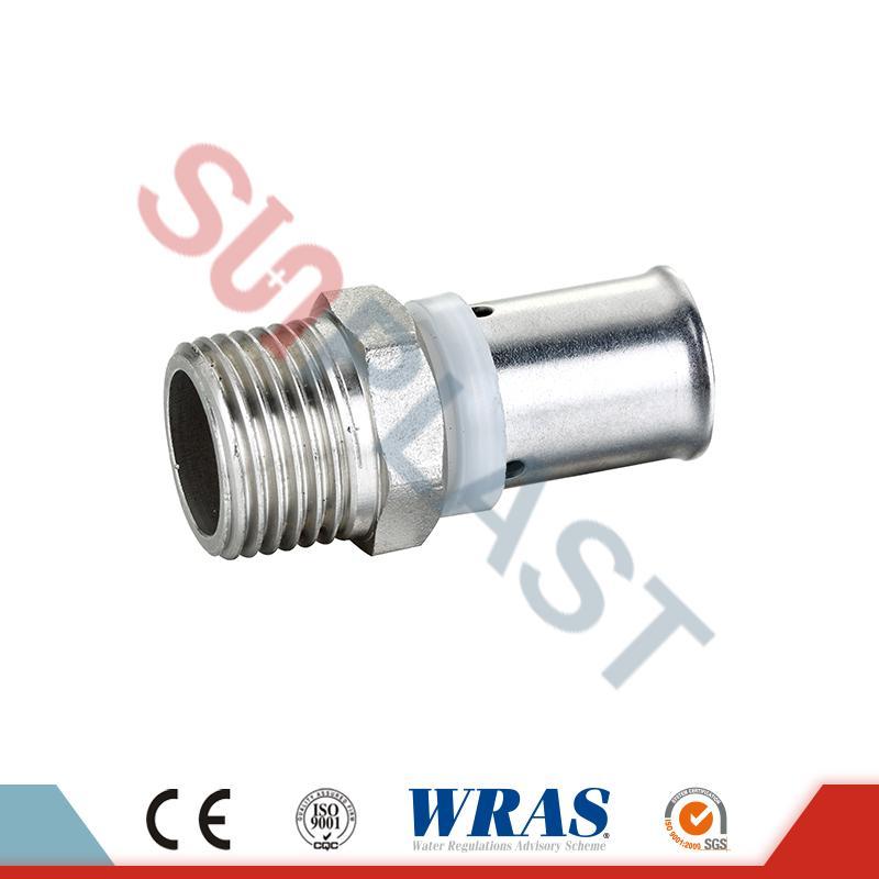 Kuningan Tekan Male Coupling Untuk PEX-AL-PEX Multilayer Pipe